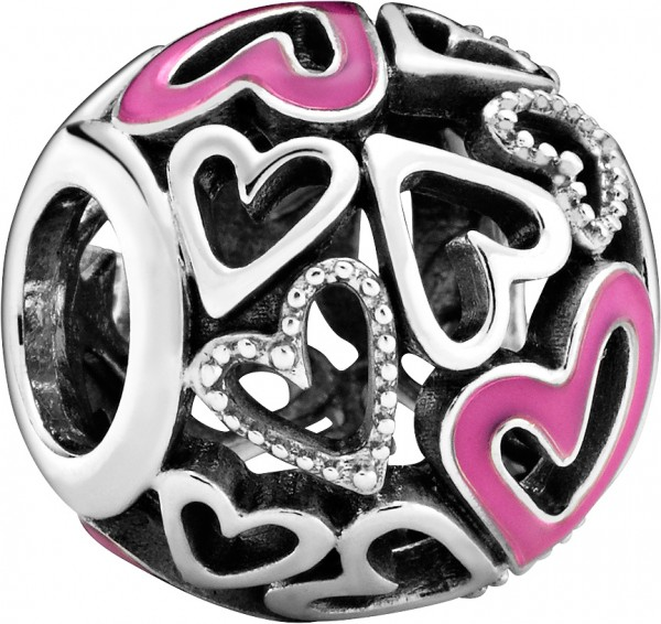 Pandora Charm 798677C01 Pink Openwork Freehand Heart Silber 925 pink Emaille