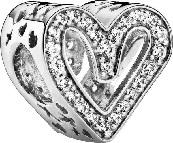 Pandora Charm 798692C01 Sparkling Freehand Heart Silber 925 klare Zirkonia