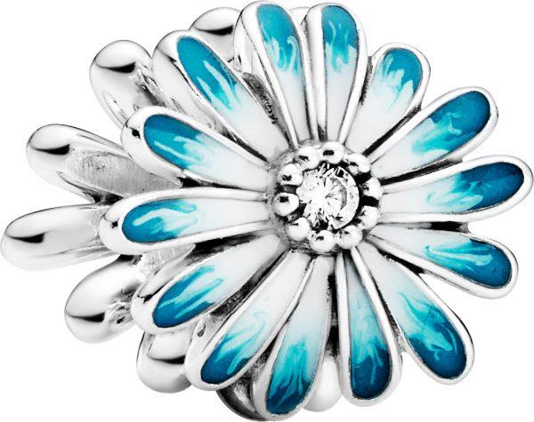 Pandora Garden Charm 798775C01 Blue Daisy Flower Silber 925 Klare Zirkonia Blau Emaille