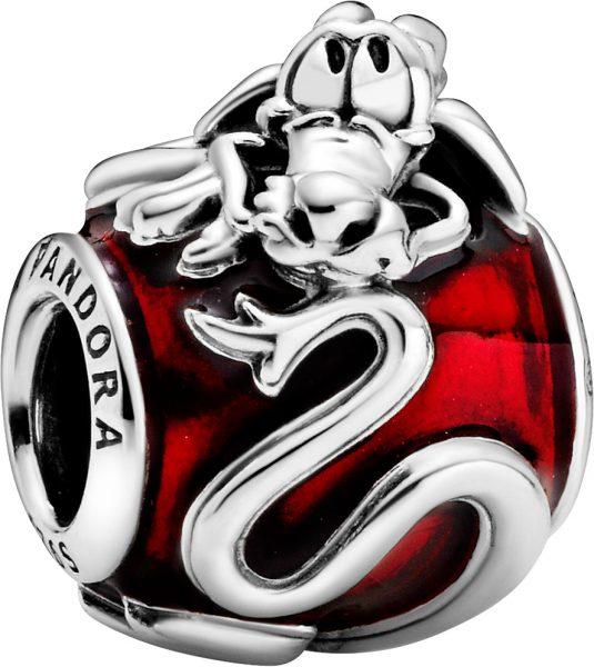 Pandora Disney Charm 798632C01 Mulan Mushu Silber 925 Rot Transparent Emaille