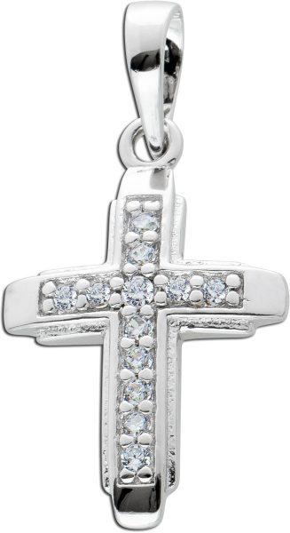 Kreuz Anhänger Zirkonia weiß Silber 925 Damenschmuck