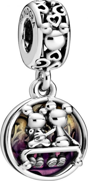 Pandora Disney Charm Anhänger 798866C01 Disney Mickey And Minnie Happily Ever After Silber 925 Lila Emaille
