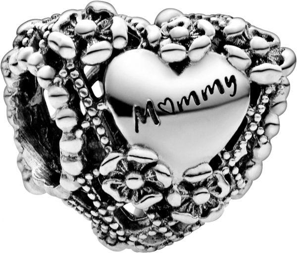 Pandora People Charm 798892C00 Openwork Flower Heart Mummy Silber 925