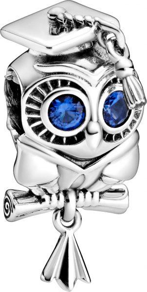 Pandora People Charm 798907C01 Wise Owl Graduation Silber 925 Blau Kristalle