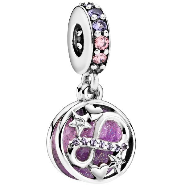 Pandora People Charm Anhänger 798829C01 Glittering Infinity Hearts And Stars Silber 925 Lila Pink Kristalle Klare Zirkonia Lila Emaille