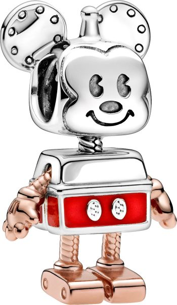 Pandora Disney Charm 789073C01 Disney Mickey Mouse Robot Rose Silber 925 Rote Emaille