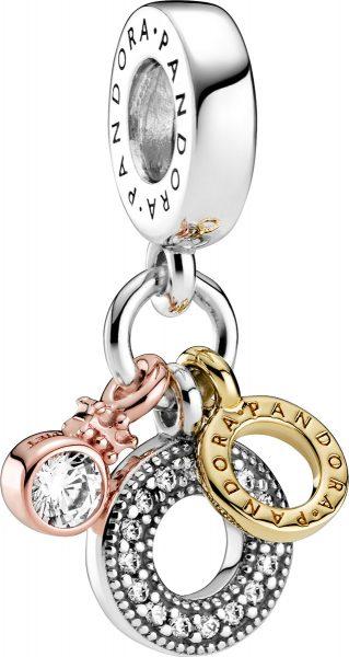 Pandora Charm Anhänger 799044C01 Triple Monogram Logo Silber 925 Rose und Shine