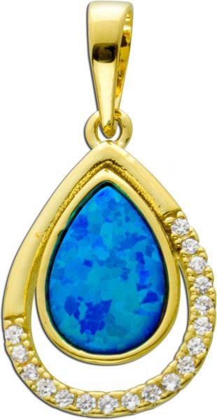 Anhänger Silber 925 vergoldet, 1 synth.Opal cirka 20 Zirkonia,23x11mm