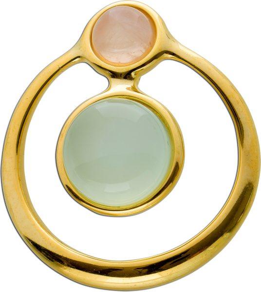 Anhänger Silber 925 vergoldet mit Aqua Achat 10mm und  Rosenquarz 6mm,27x24mm