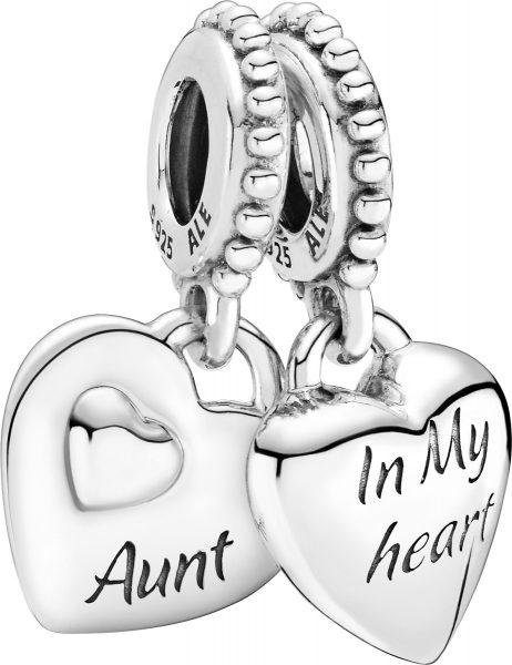Pandora People Charm Anhänger 799188C00 Aunt And Niece Split Heart Silber 925