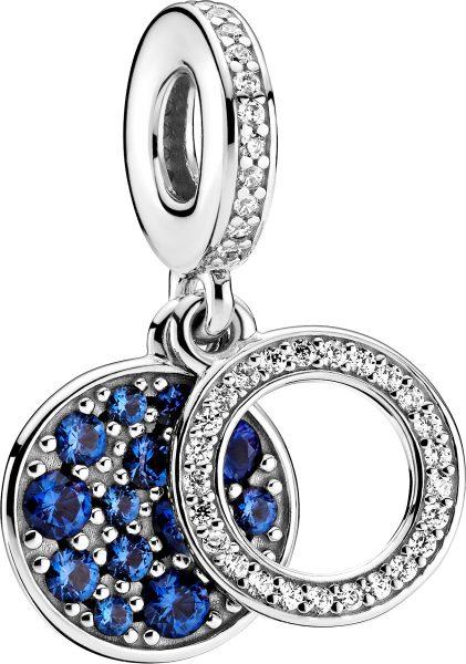 Pandora Colours Charm Anhänger 799186C01 Sparkling Blue Disc Silber 925 Klare Zirkonia Blaue Kristalle