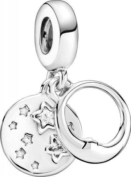 Pandora Charm Anhänger 799242C01 Sleeping Moon Stars Silber 925 clear cubic zirconia
