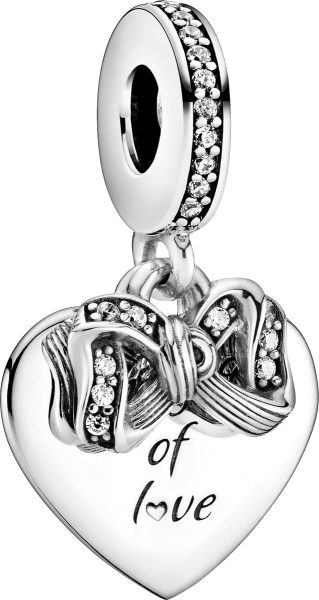 Pandora Charm Anhänger 799221C01 Bow Love Heart Silber 925 clear cubic zirconia
