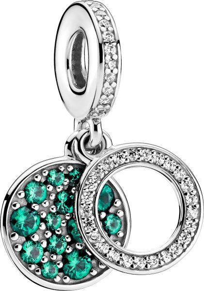 Pandora Colours Charm Anhänger 799186C02 Sparkling Green Disc Silber 925 Klare Zirkonia Grüne Kristalle