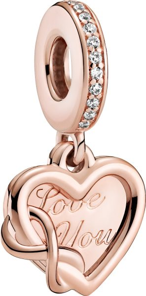 Pandora Moments Charm 789369C01 Love You Infinity Heart Rose Metall Klare Zirkonia