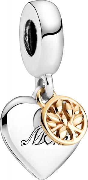 Pandora Moments Charm 799366C00 Two-tone Family Tree And Heart Silber 925 Gold 14 Karat