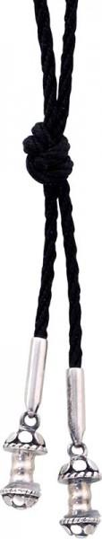 Collier ca. 90 cm~mit 2 Silberelementen~passend für 2 Beads zum~Schrauben, schwarzes Seiden~band