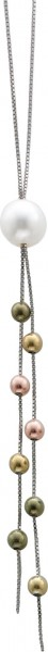 Collier in Silber Sterlingsilber 925/-, poliert mit einer weissen runden  Süsswasserzuchtperle, Durchmesser 9,5mm und mit bunten Beads, Durchmesser 3mm. Länge 47cm mit sicherem Karabinerverschluss. Die passenden Ohrhänger finden Sie unter der Artikelnumme