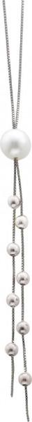 Collier 48cm lang mit einerweissen suesswasserzuchtperle und beads aus Silber Sterlingsilber 925/, poliert mit Karabinerverschluss