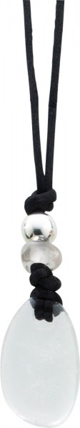 Edelsteinkette Edelstein Bergkristall weiss transparent Esoterikschmuck Textilband