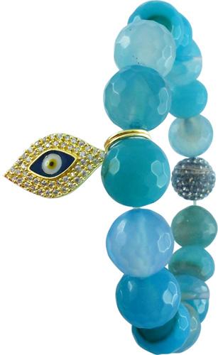 Armband dehnbar mit Aquamarin und schützendem Auge