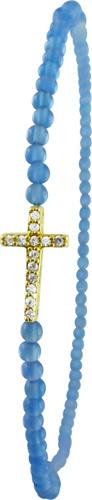 Armband dehnbar mit blauem Achat und Kreuz