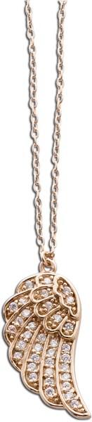 Engel-rufer-Flügelkette Sterling Silber 925 rose vergoldet mit Zirkonia