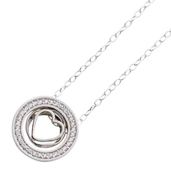 Halskette Herz Sterling Silber 925  Zirkonia Anhänger bewegliches Herz Ankerkette