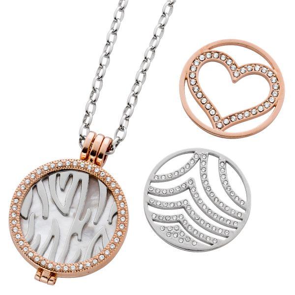 Halskette Ankerkette Medaillon Metall Gelb Rose vergoldet Silber Perlmutt Zirkonia 3 Coins Set