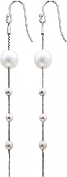 Ohrringe – Ohrhänger weiße Süsswasserzuchtperle Silberbeads Sterling Silber 925 poliert