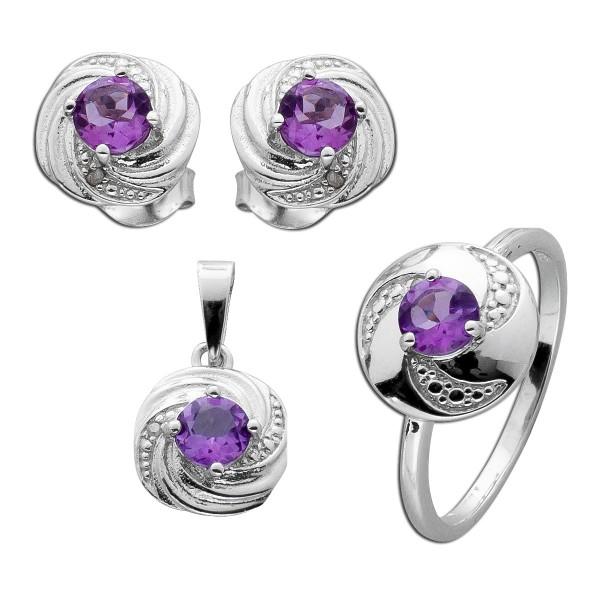Diamanten Schmuck Set Ring Anhänger Ohr...