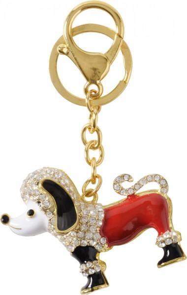 Schlüsselanhänger Hund goldfarben aus Metall,teilweiserot/schwarz lackiert,besetzt mit KristallenMaße 60X45mm