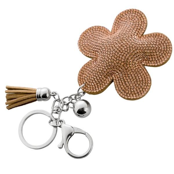 Taschenanhänger Schlüsselanhänger Blume champagnerfarbene Kristalle