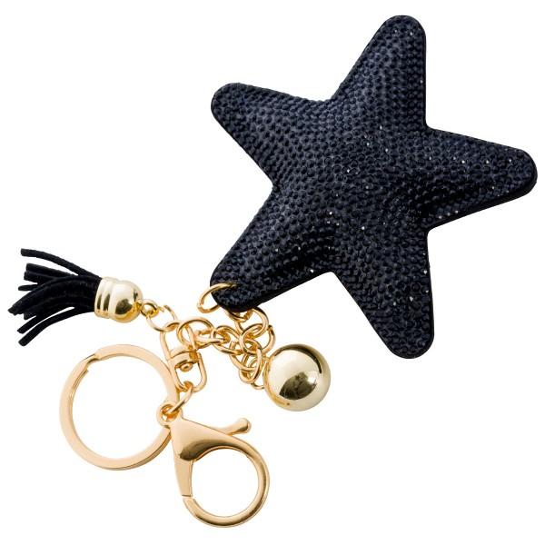 Taschenanhänger Schlüsselanhänger Stern schwarze Kristalle