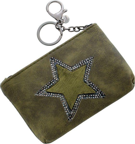 Khakifarbener Taschenänhänger Beutel Stern Kristallen