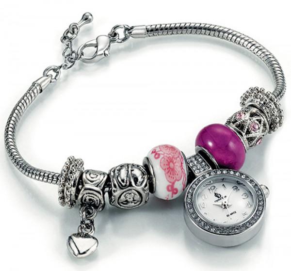 Modische Bead- Uhr aus Metall mit Miyota Quarzwerk an einem Bead-Armband. Die Beads sind in den Farben lila und pink, mit Herz-und Blumen Beads und strahlenden Swarovski Elementen, in der  Länge ca. 18-22cm, zum Schnäppchenpreis aus dem Hause