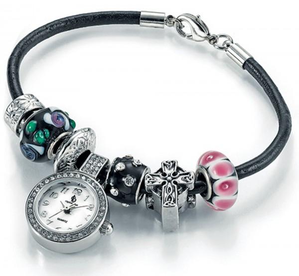 Modisches Bead Armband mit Beads Uhr aus Metall, die beads sind in den Farben Lila und Grün, mit Kreuz und mit strahlenden Swarovski Elememten, mit Miyota Quarzwerk, Länge ca. 18-22cm, zum Schnäppchenpreis aus dem Hause Abramowicz, Ihrem Vert