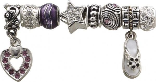 Beadset 8-teilig aus unserer Crystal Blue-Collection, teils mit Elementen aus Glas, Kristallstrassteinen und auch mit funkelnden Zirkonia besetzt. Verschiedene Beads, passend für alle Sammelsysteme aus Metall im angesagten PANDORA Stil zu e