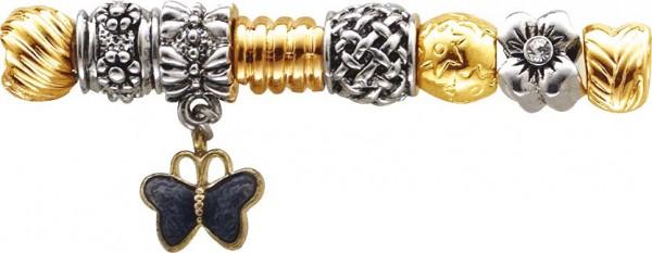 Beadset 8-teilig aus unserer Crystal Blue-Collection, teils mit vergoldeten Elementen teils aus Glas, Kristallstrassteinen und auch mit funkelnden Zirkonia besetzt. Verschiedene Beads, passend für alle Sammelsysteme aus Metall im angesagten