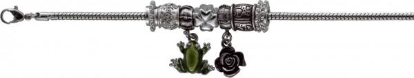 Armband 18,5cm mit 3cm Verlängerungskette 5 Motiv- und 2 Stopperbeads, aus Metall