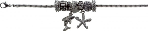 Armband 18,5cm mit 3cm Verlängerungskette, 5 Motiv- und 2 Stopperbeads, aus Metall