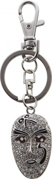 Schlüsselanhänger Maske mit Strasssteinen
