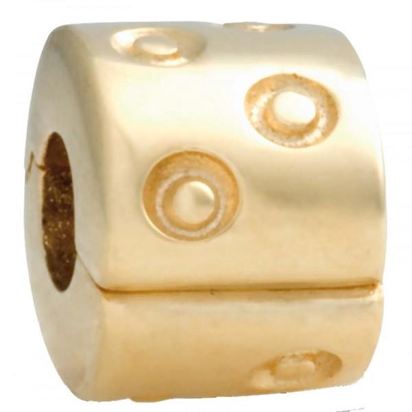 PANDORA Clipelement mit goldigem Punkemuster Modellnummer: 750345 Aus massivem 585/- ( 14Karat ) Gelbgold  Maße ca. 8,2mm x 6,6mm. In Premiumqualität von Deutschlands größtem und günstigstem Schmuckverkäufer. Der Hitpreis aus Stuttgart! Die Nr. 1 für Gold