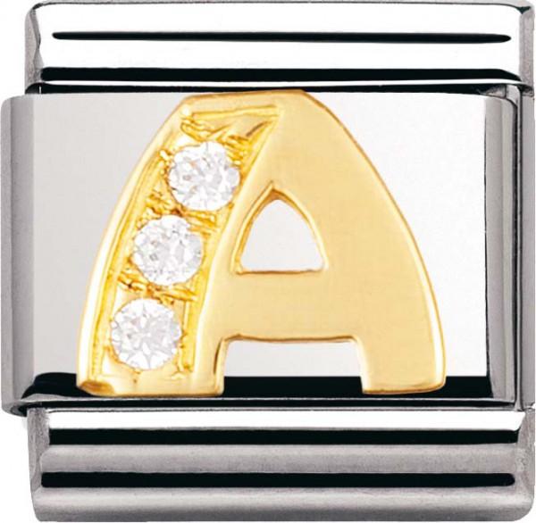 Nomination 030301-01 Classic Element A aus Edelstahl mit Gold 750/- und Zirkonia
