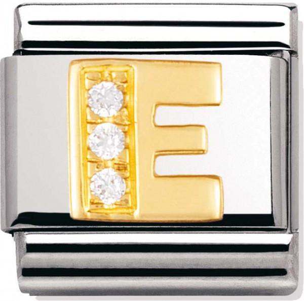 Elegantes Nomination Element Chinesisches Schriftzeichen aus Edelstahl    E      mit Motiv aus 18 Karat Gold und 3 Zirkonia. Modellnummer: 030301-05. Der Anhänger besteht ansonsten aus Edelstahl. Die Maße des Anhängers sind ca. 10mmx10mm. Treffen Sie Ih