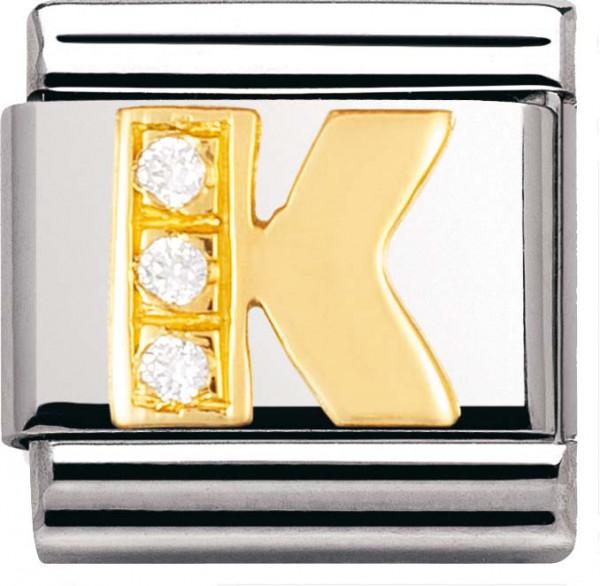 Nomination 030301-11 Classic Element K aus Edelstahl mit Gold 750/- und Zirkonia