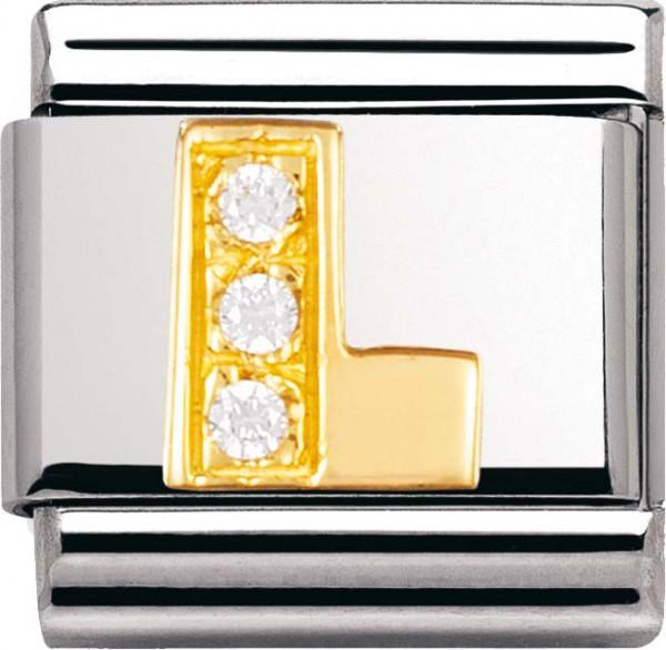 Nomination 030301-12 Classic Element L aus Edelstahl mit Gold 750/- und Zirkonia