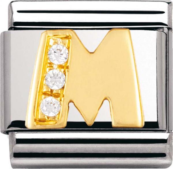 Nomination 030301-13 Classic Element M aus Edelstahl mit Gold 750/- und Zirkonia