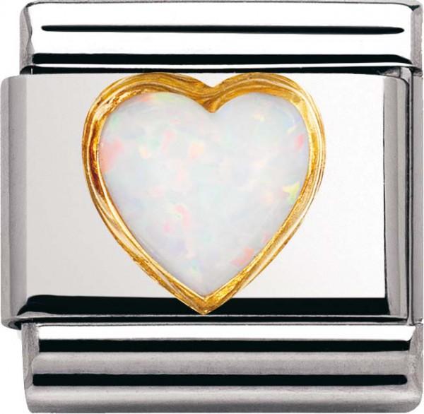 Nomination 030501-07 Classic Element Herz weißer Opal aus Edelstahl mit Gold 750/-