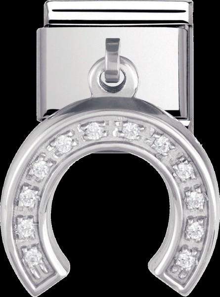 NOMINATION-Charm  Hufeisen , Modellnr.: 031711-12 aus Edelstahl mit einem Abhänger, der mit Zirkonia besetzt ist und aus echtem Silber Sterlingsilber 925/- gefertigt ist. Seine Maße sind ca. 14mmx20mm( mit Anhänger). Er ist genau passsend auf alle trend